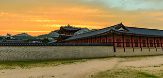 Sunset over the Gyeongbokgung palace. In Seoul,korea Royalty Free Stock Photos