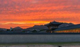 Sunset over the Gyeongbokgung palace. In Seoul,korea Stock Photography
