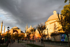 Sunset over Hagia Sophia museum Royalty Free Stock Images