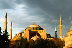 Sunset over Hagia Sophia museum Stock Image