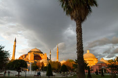 Sunset over Hagia Sophia museum Stock Photos