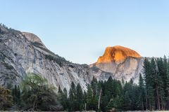 Sunset over Half-dome royalty free stock photography