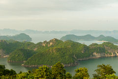 Sunset over Halong bay and Catba Royalty Free Stock Images