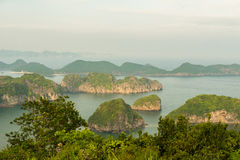 Sunset over Halong bay and Catba Stock Photography