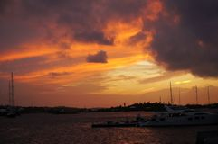 Sunset. Sunset over Hamilton Inner Harbor, Bermuda Royalty Free Stock Photo