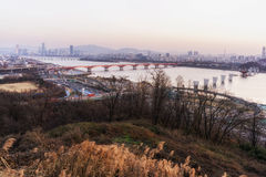 Sunset over han river royalty free stock photo