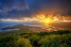 Sunset over Hanauma Bay from Koko Head Crater Royalty Free Stock Photo