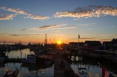 Sunset over the harbor of Steveston. Tramonto sul porto di Steveston a Vancouver in Canada Stock Image
