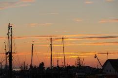 Sunset over the harbor of Steveston. Tramonto sul porto di Steveston a Vancouver in Canada Stock Images