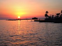 Sunset over a harbour with palm trees. Sunset over a seashore and palm tree scene Stock Image