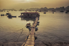 Sunset over harbour in Vietnam Stock Images
