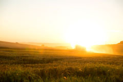 Sunset over a harvested field Stock Images
