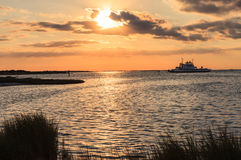Sunset Hatteras Inlet North Carolina Ferry Boat Stock Image
