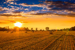 Sunset over the hay bale field Stock Images