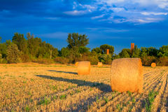 Sunset over the hay bale field Royalty Free Stock Images