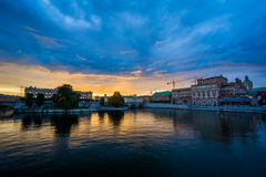 Sunset over Helgeandsholmen and Norrmalm, in Stockholm, Sweden. Royalty Free Stock Photography