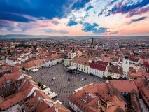 Sunset over Hermanstadt Sibiu Romania Royalty Free Stock Photography