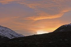 Sunset Over a High Arctic Ridge Royalty Free Stock Photography