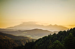 Sunset over high tatras. Slovakia Royalty Free Stock Images