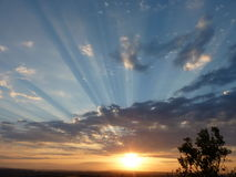Sunset over Hills Stock Photo