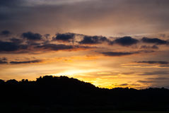 Sunset over hills. Photo of sunset over hills shot in Croatia Royalty Free Stock Photo