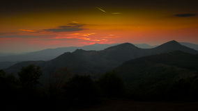 Sunset over the hills. Of Serbia Royalty Free Stock Image