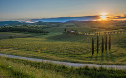 Sunset over the hills of Tuscany, Italy royalty free stock photos