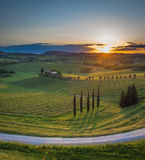 Sunset over the hills of Tuscany, Italy Stock Images