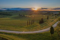 Sunset over the hills of Tuscany, Italy Royalty Free Stock Image