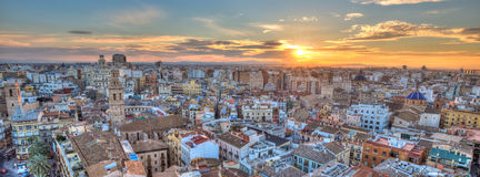 Sunset Over Historic Center of Valencia, Spain. Royalty Free Stock Photo