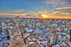 Sunset Over Historic Center of Valencia, Spain. Stock Photos