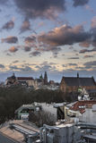 Sunset over historic town Krakow in Poland Royalty Free Stock Photography