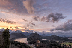 Sunset over Hohenschwangau Castle Royalty Free Stock Photo