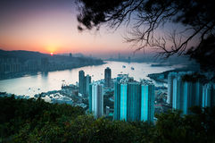 Sunset over Hong Kong Island as seen from Devil's Peak, Kowloon Stock Image