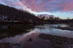 Sunset over the Hoosic River Royalty Free Stock Image