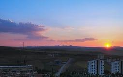 Sunset over horizon in Ankara stock photos