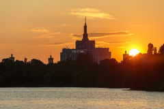 Sunset Over House Of The Free Press, Bucharest Stock Images