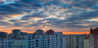 Sunset over the housing estate with modern apartment buildings Royalty Free Stock Images
