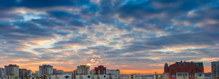 Sunset over the housing estate with modern apartment buildings Stock Images
