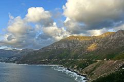 Sunset over the Hout bay coastline Royalty Free Stock Photos