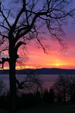 Sunset over Hudson royalty free stock images