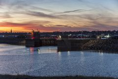 Free Sunset Over Hurricane Barrier Royalty Free Stock Image - 110751236