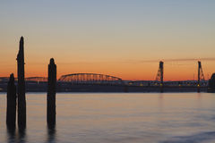 Sunset Over I-5 Columbia River Crossing Bridge Royalty Free Stock Photos