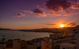 Sunset over the Ibiza town Royalty Free Stock Photos