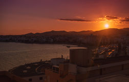 Sunset over the Ibiza town Stock Image