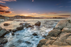 Sunset over Ile Rousse in Balagne region of Corsica Royalty Free Stock Photography