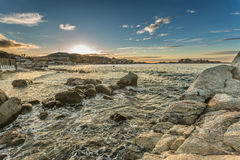 Sunset over Ile Rousse in Balagne region of Corsica Royalty Free Stock Images