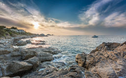 Sunset over Ile Rousse in Corsica Stock Photo