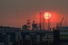 Sunset over industrial area - Singapore Royalty Free Stock Photography