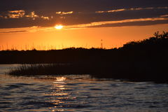 Sunset over Inlet with Vegetation Stock Images